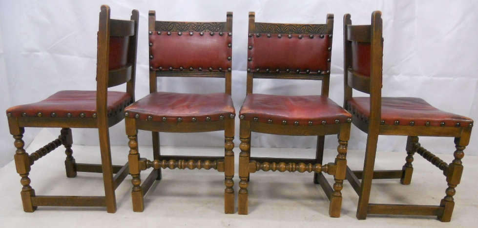 Wonderful Set Of Four Leather Upholstered Dining Chairs By Old Charm   SOLD